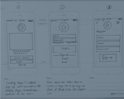 Paper wireframes at the early stage of a UX design project