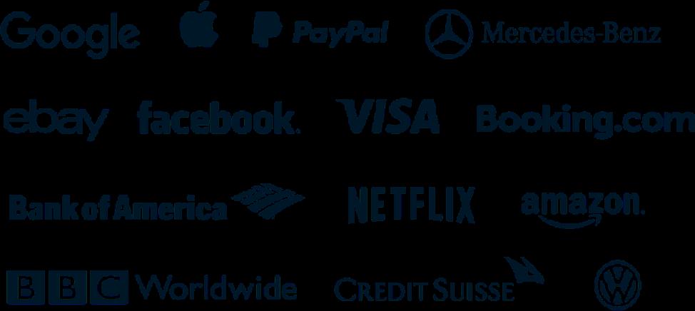 Google, Apple, Paypal, Ebay, Facebook etc